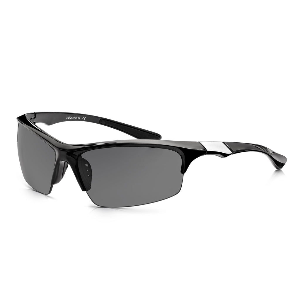 Sunglassjunkie Black Half Frame Sports Wrap Sunglasses