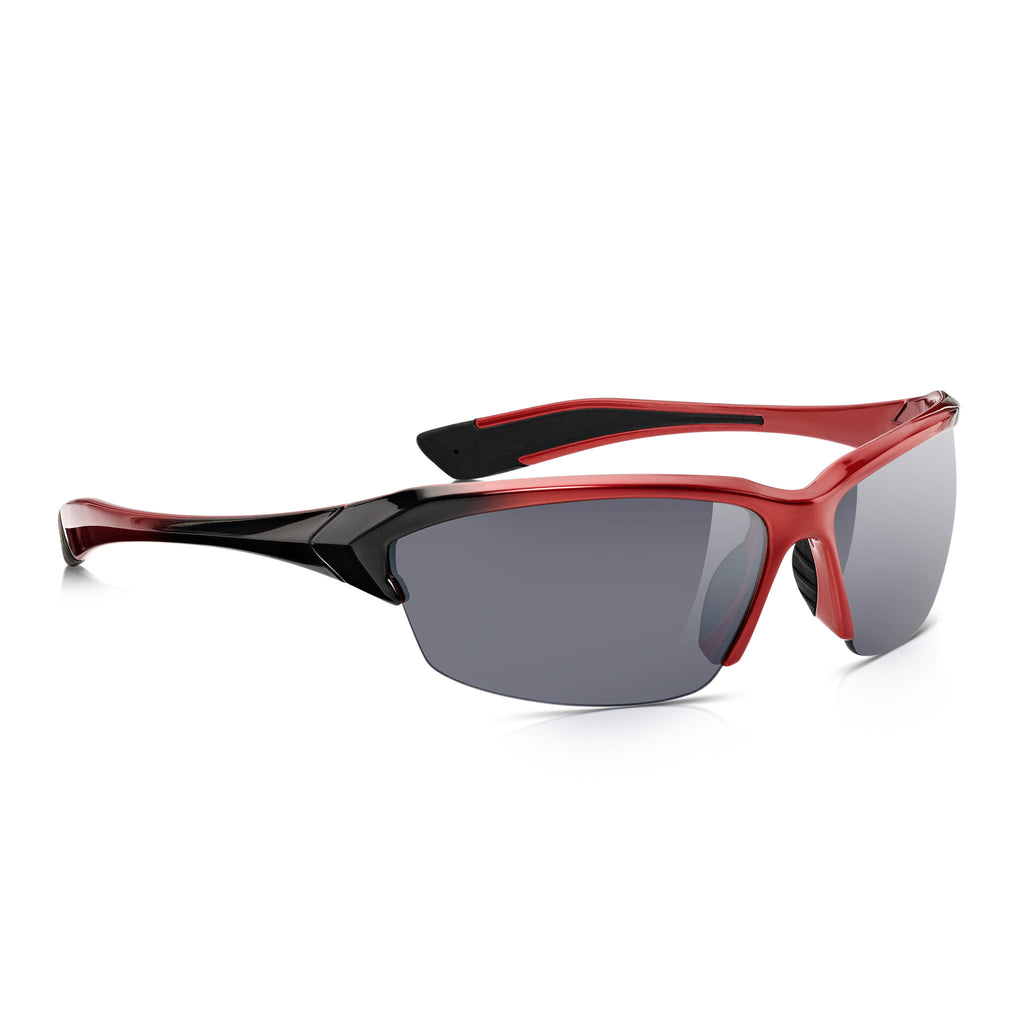 Sunglassjunkie Metallic Red Half Frame Classic Sports Wrap Sunglasses