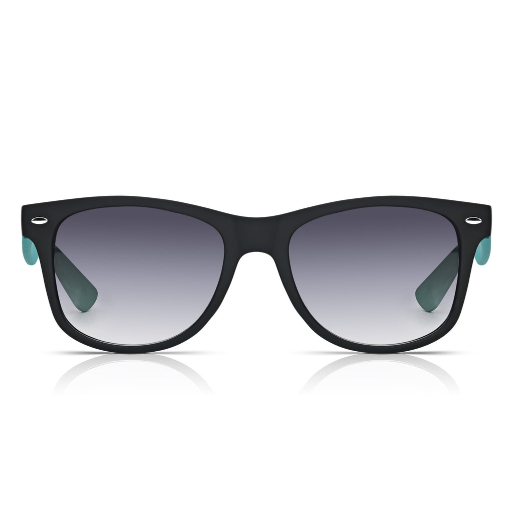 Sunglassjunkie Black & Neon Green Rubberised Wayfarer Sunglasses
