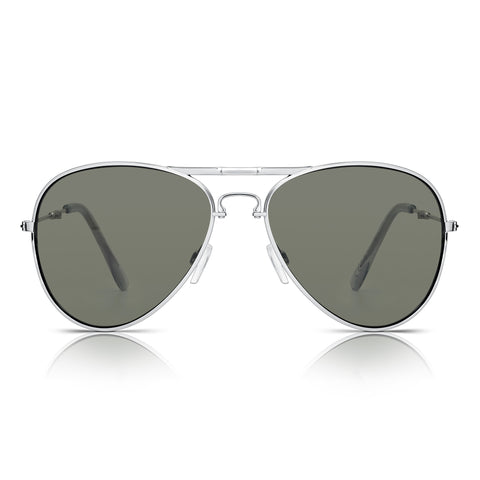 Sunglassjunkie Silver Top Gun Foldable Aviator Sunglasses