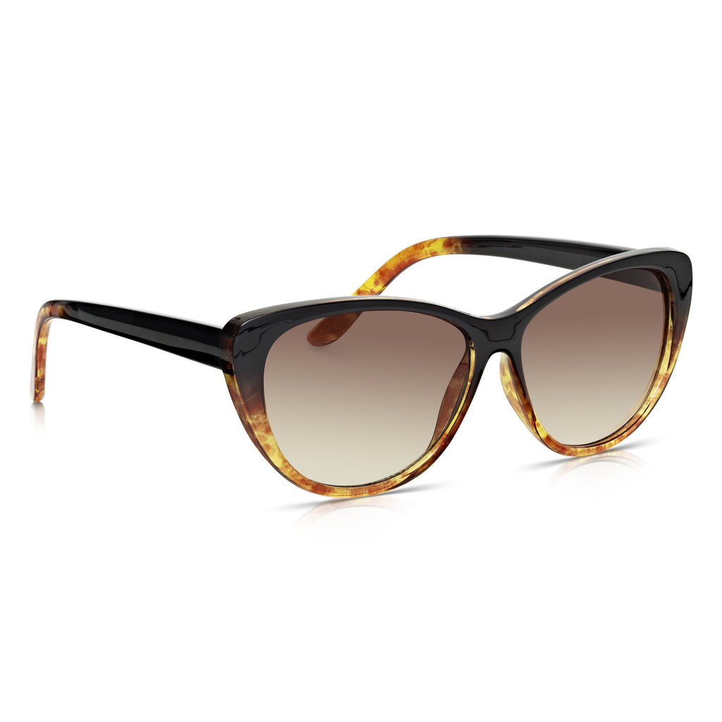 Sunglassjunkie Black and Tortoiseshell Retro Cats Eye Sunglasses