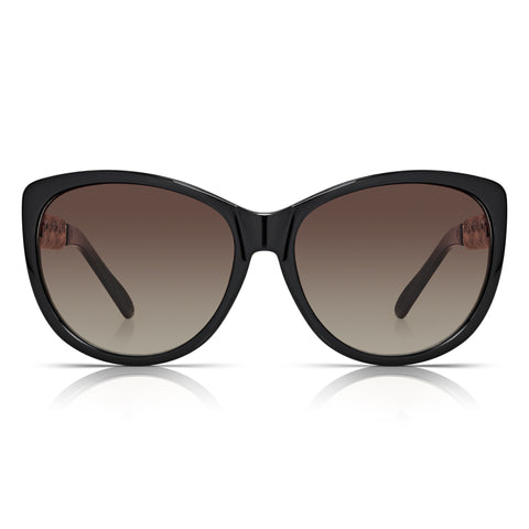 Sunglassjunkie Black Oversized Cats Eye Gold Chain Sunglasses