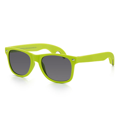 Sunglassjunkie Neon Green Rubberised Bottle Opener Wayfarer Sunglasses