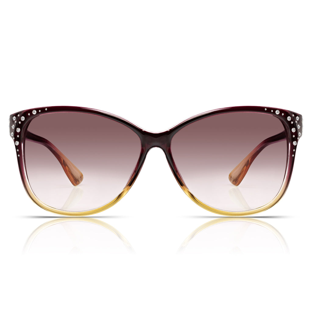 Sunglassjunkie Berry Oversized Cats Eye Sunglasses
