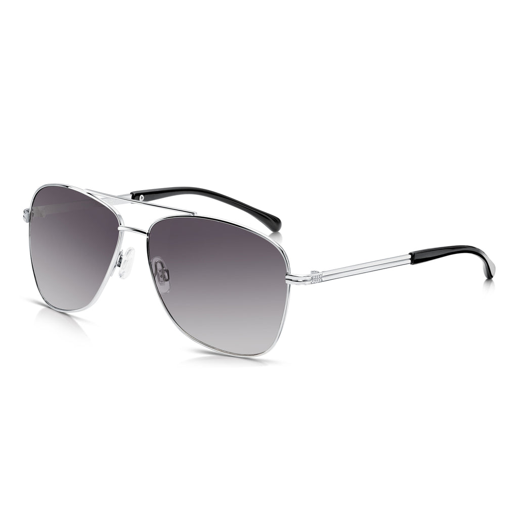 Sunglassjunkie Silver Contemporary Aviator Sunglasses