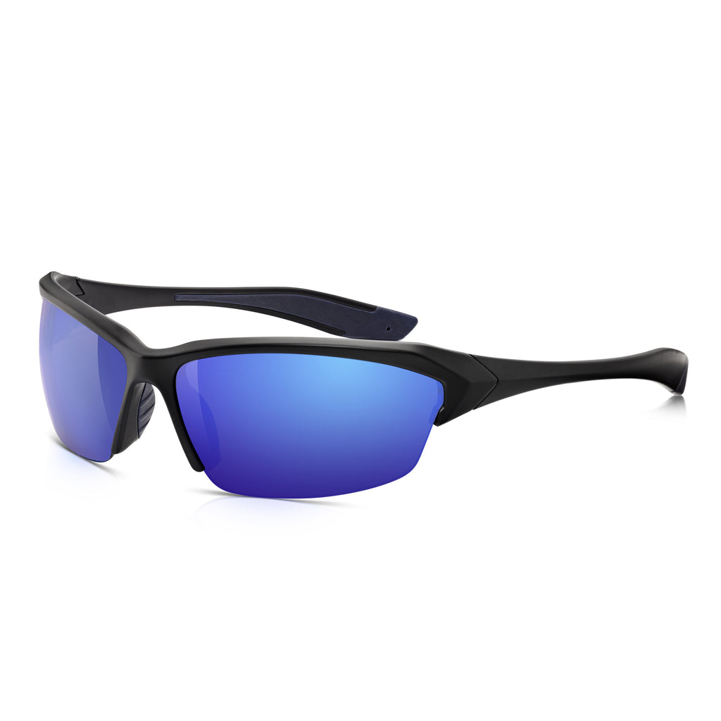 Sunglassjunkie Black Half Frame Classic Sports Wrap Sunglasses