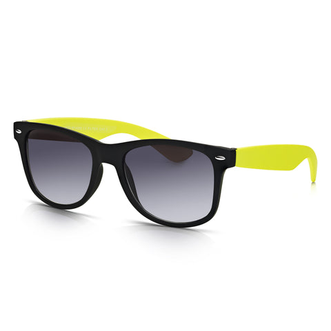 Sunglassjunkie Black & Neon Yellow Rubberised Wayfarer Sunglasses