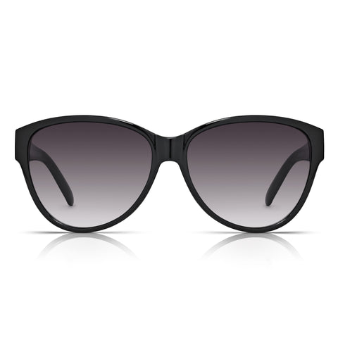 Sunglassjunkie Black Oversized Cats Eye Chain Link Sunglasses