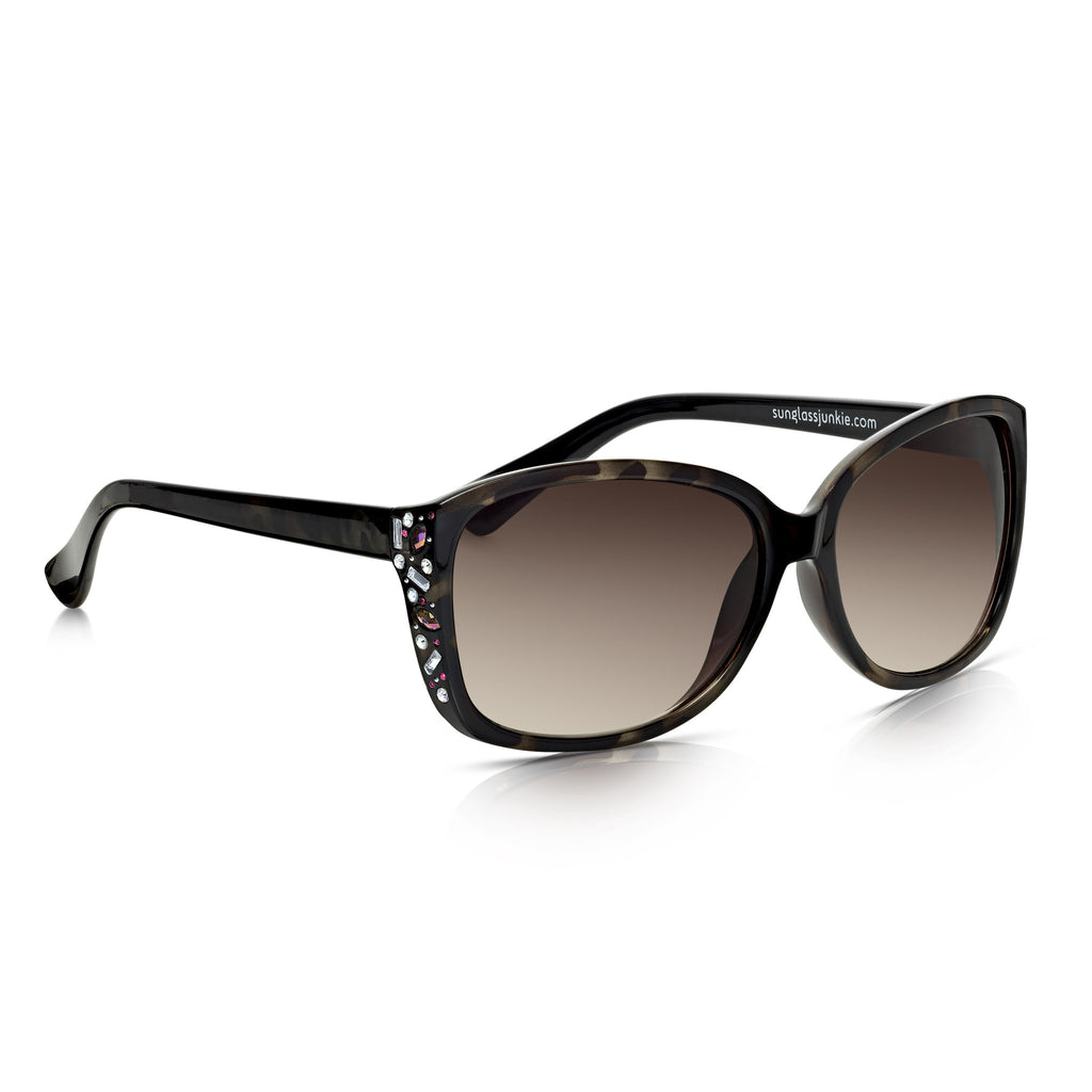 Sunglassjunkie Tortoiseshell Jewel Decorated Sunglasses