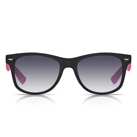 Sunglassjunkie Black & Neon Pink Rubberised Wayfarer Sunglasses