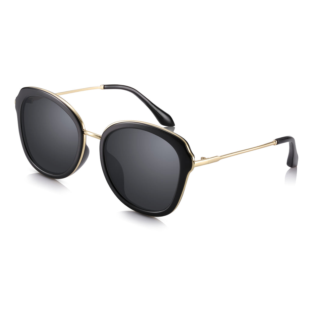 Sunglassjunkie LIMITED EDITION Black & Gold Butterfly Sunglasses with Solid Smoke Black Lenses