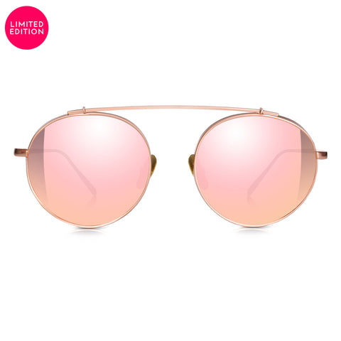 Sunglassjunkie LIMITED EDITION Rounded Rose Gold Vintage Aviator with Pink Mirror Lens Sunglasses