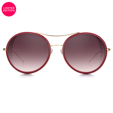 Red & Gold Rounded Aviator with Oxblood Gradient Lens Sunglasses