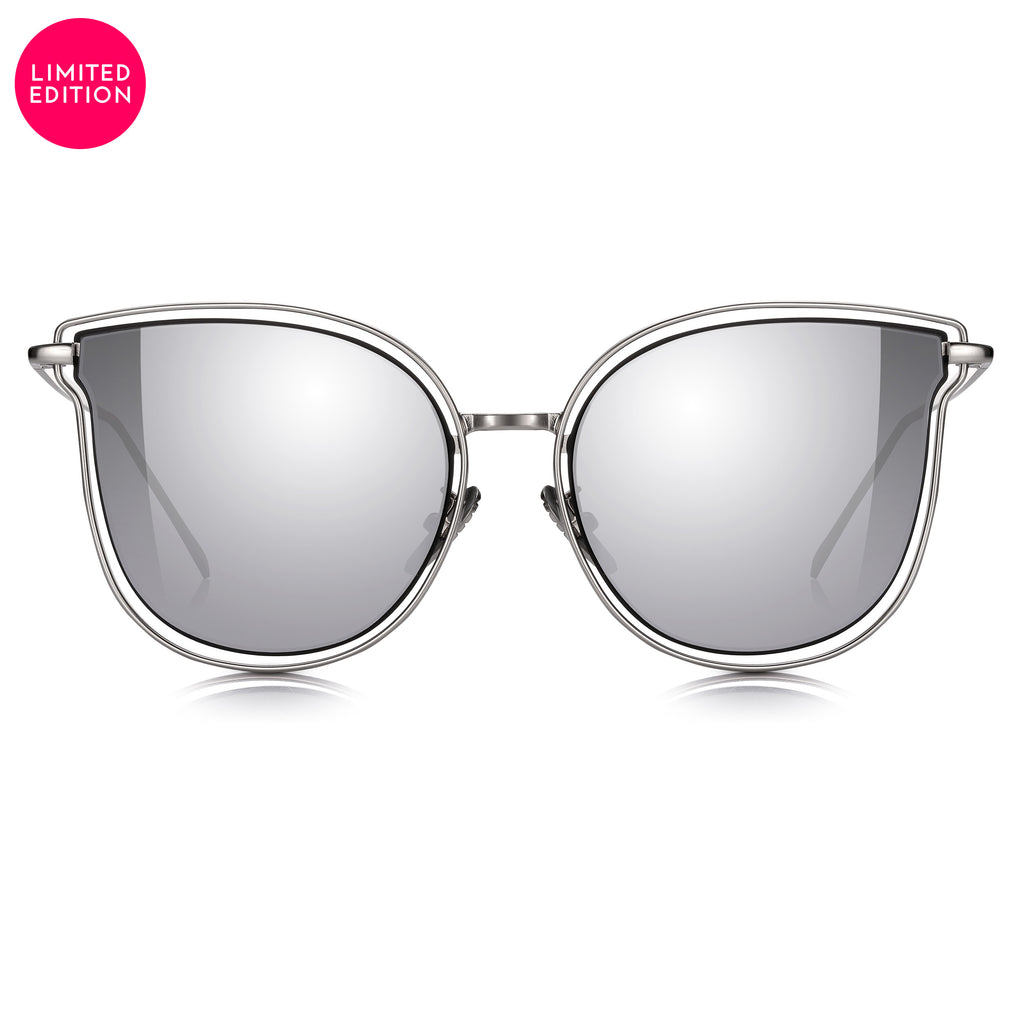 "Sunglassjunkie LIMITED EDITION ""So Solid"" Silver Oversized Cats Eye with Silver Mirror Lens Sunglasses"