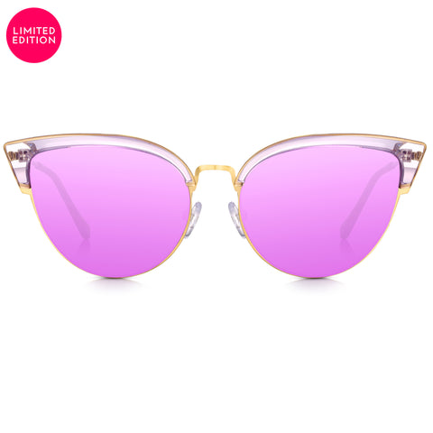 Sunglassjunkie LIMITED EDITION Gold & Flirty Purple Crystal Cat Eye with Purple Mirror Lens Sunglasses