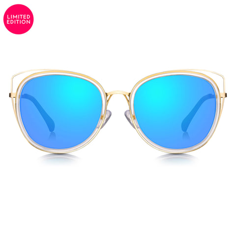 Sunglassjunkie LIMITED EDITION Clear Crystal & Gold Oversized Cats Eye with Ocean Blue Mirror Lens Sunglasses