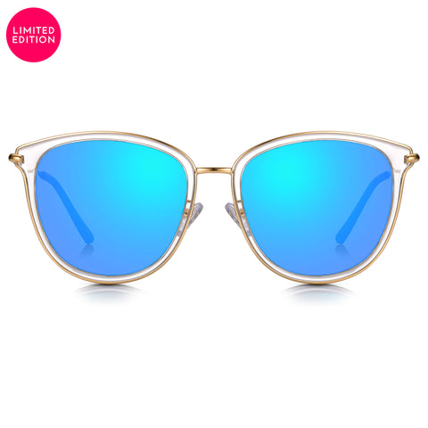 Sunglassjunkie LIMITED EDITION Clear Crystal & Gold Butterfly with Ocean Blue Mirror Lens Sunglasses