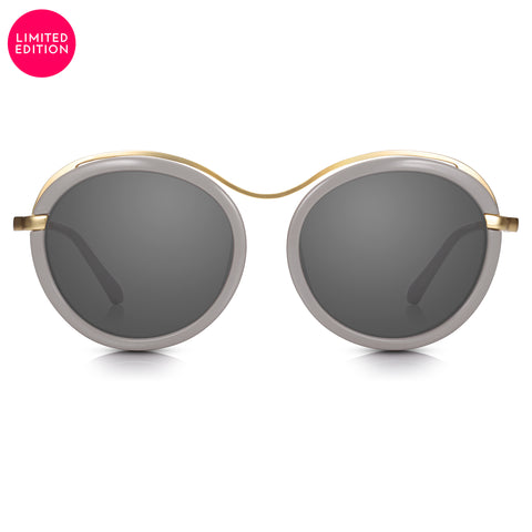 Sunglassjunkie LIMITED EDITION Grey & Gold Statement Round with Smoke Black Lens Sunglasses