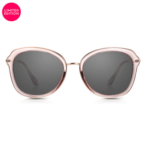 Sunglassjunkie LIMITED EDITION Pink & Gold Butterfly Sunglasses with Solid Smoke Black Lenses