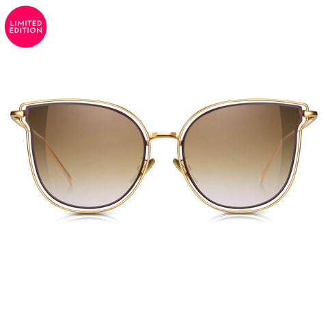 "Sunglassjunkie LIMITED EDITION ""So Solid"" Gold Oversized Cats Eye with Gradient Brown Lens Sunglasses"