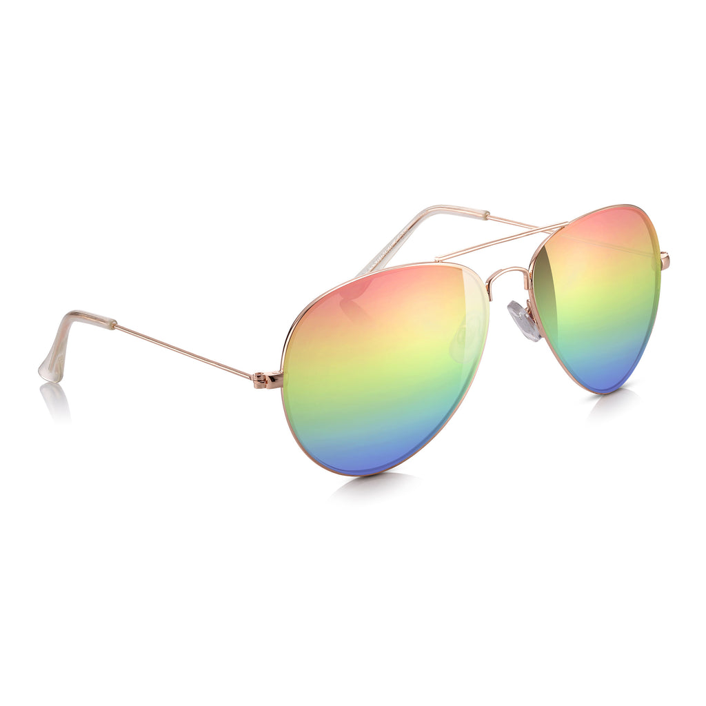 Sunglassjunkie Gold & Rainbow Lens Top Gun Aviator Sunglasses
