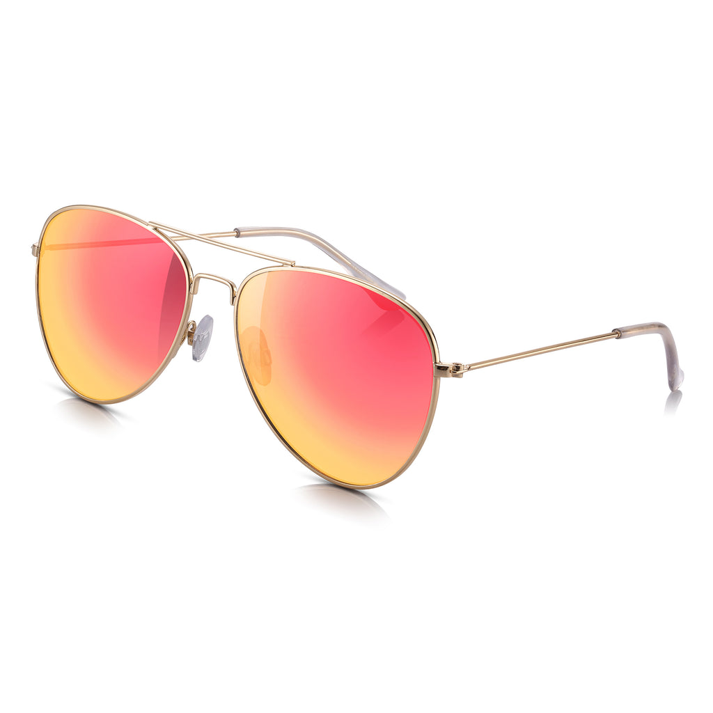 Sunglassjunkie Gold Flat Front Aviator with Red/Yellow Mirror Lens Sunglasses