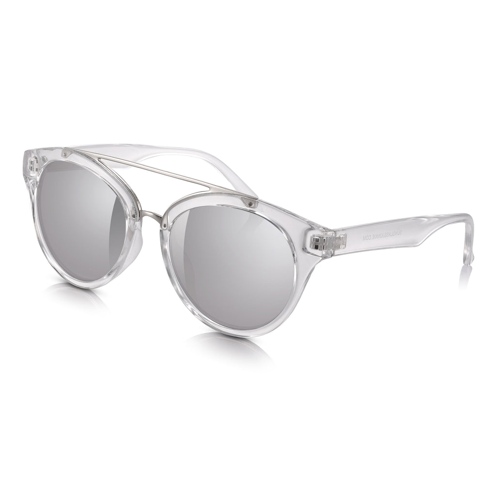 Sunglassjunkie Crystal Wayfarer with Silver Mirror Lens Sunglasses
