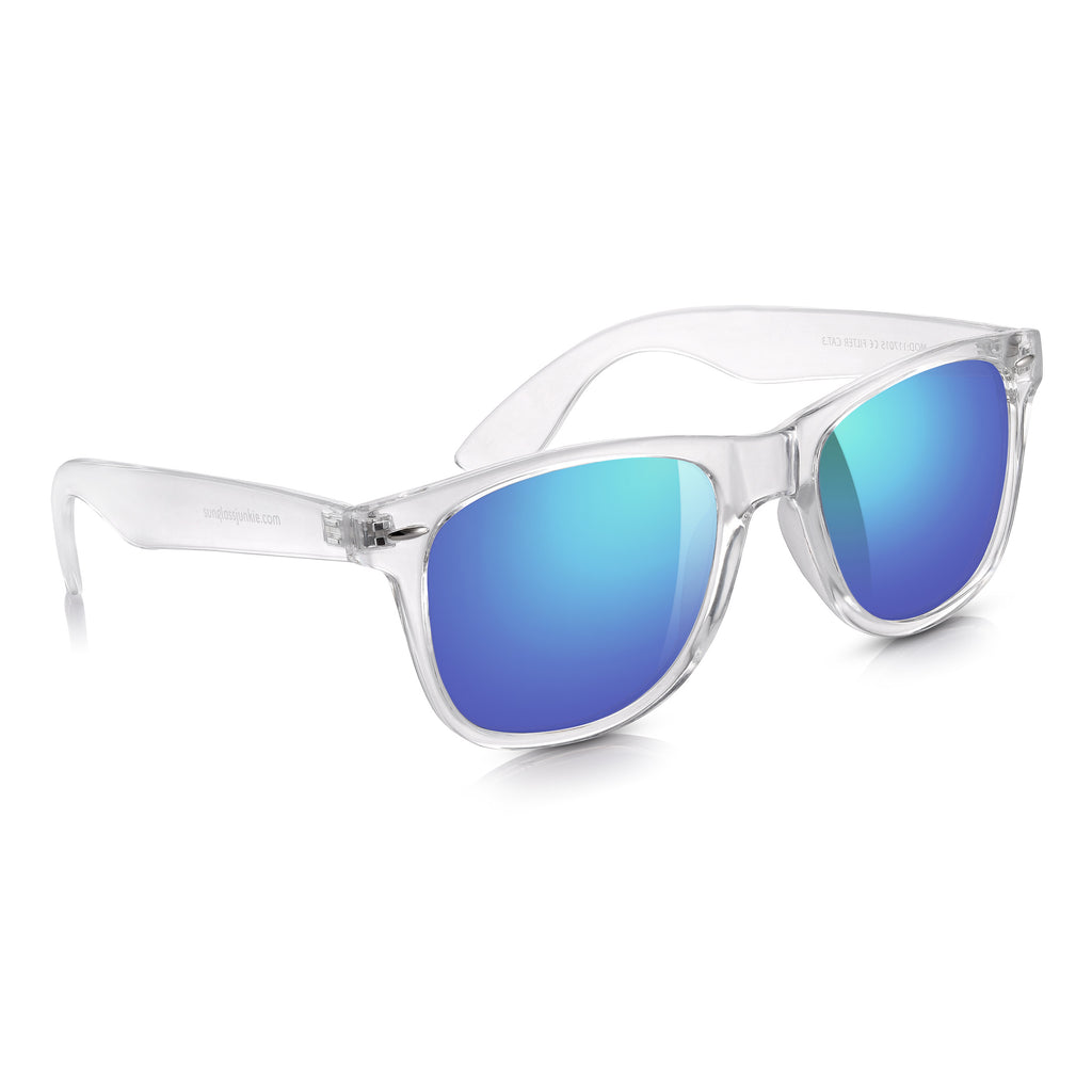 Sunglassjunkie Clear Crystal Blue Mirror Festival Wayfarer Sunglasses