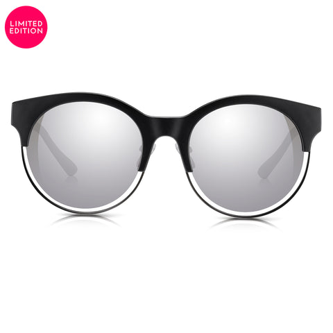 Sunglassjunkie LIMITED EDITION Black & Silver Round Clubmaster with Silver Mirror Lens Sunglasses
