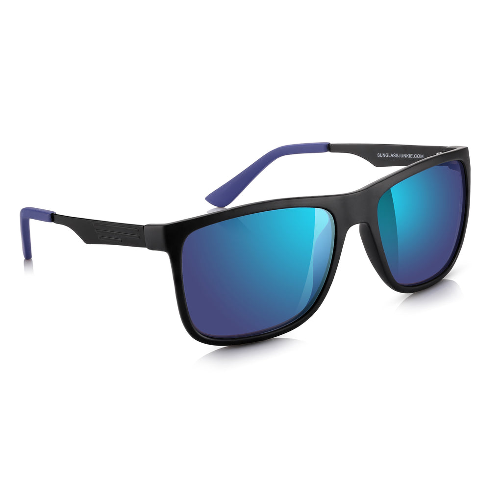 Sunglassjunkie Matt Black Sport Wayfarer Blue Mirror Lens Sunglasses