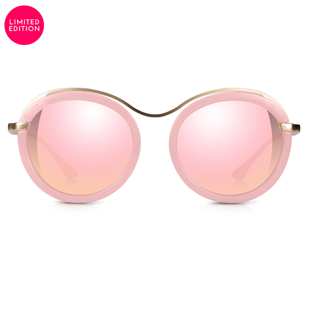 Sunglassjunkie LIMITED EDITION Pink Crystal & Gold Statement Round with Pink Mirror Lens Sunglasses