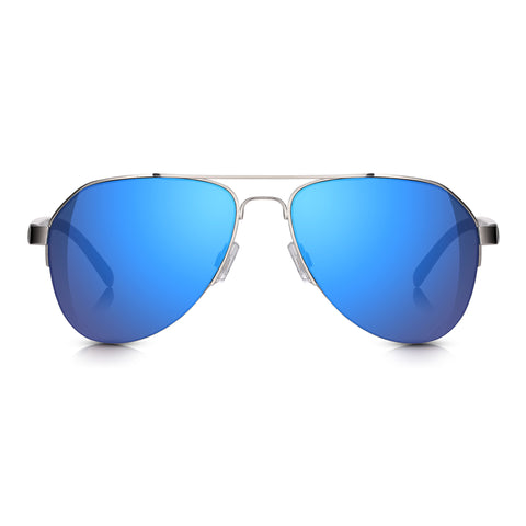 Silver Semi-Rimless Aviator Blue Mirror Sunglasses