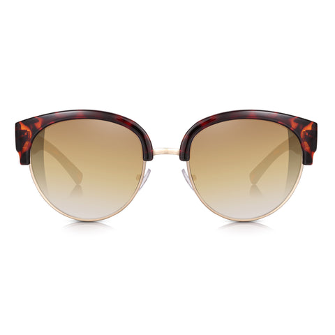 Sunglassjunkie Tortoiseshell and Gold Clubmaster Cats Eye Sunglasses