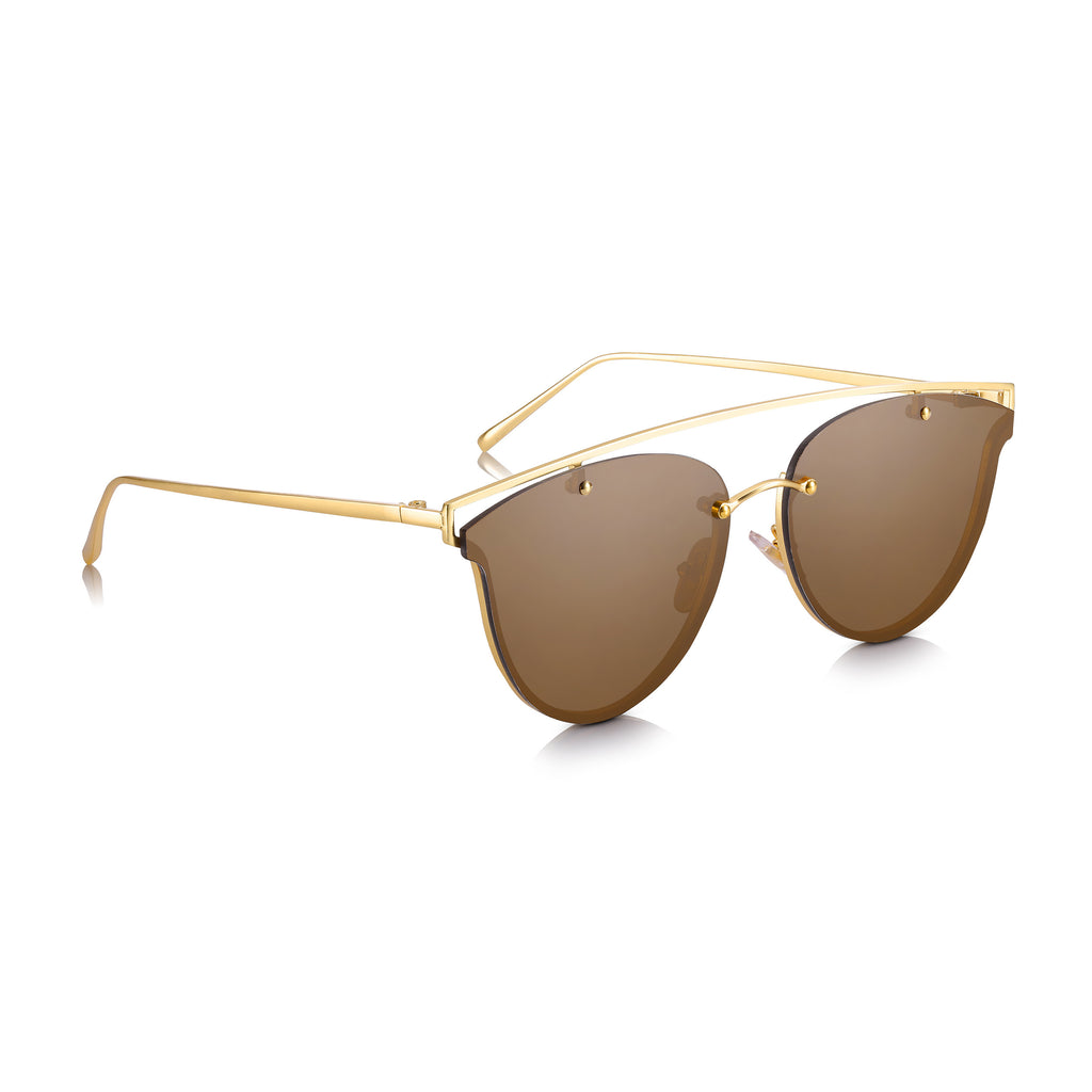 Sunglassjunkie LIMITED EDITION Gold Rimless Clubmaster with Brown Lens Sunglasses