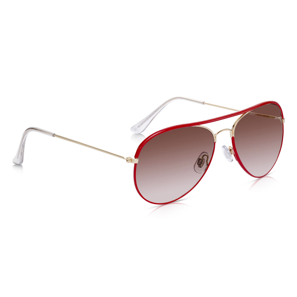 Sunglassjunkie Red Enamel & Gold Aviator Sunglasses