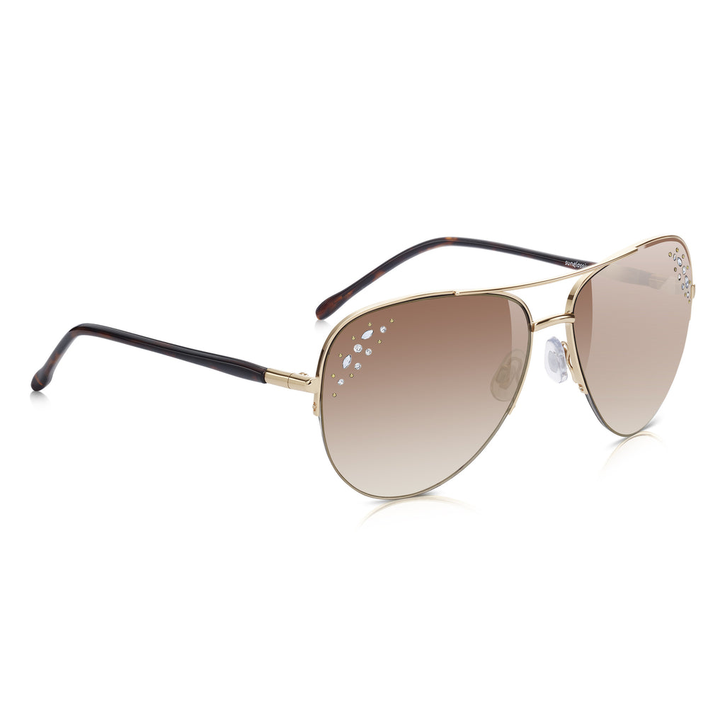 Sunglassjunkie Gold & Diamanté Semi-Rimless Aviator Sunglasses