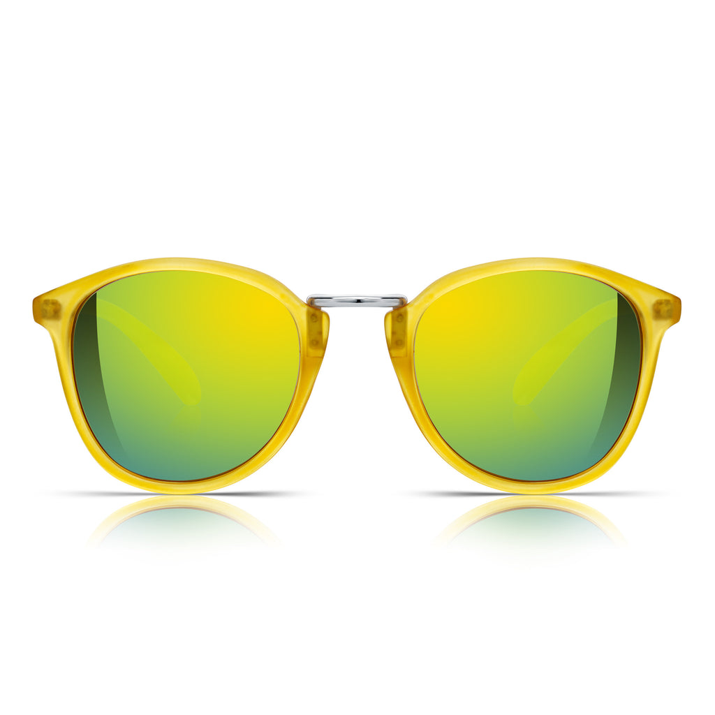 Sunglassjunkie Matt Yellow Crystal Retro Round Sunglasses