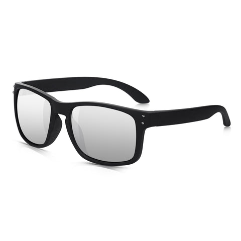 Sunglassjunkie Matt Black Wayfarer Wrap Mirror Sunglasses