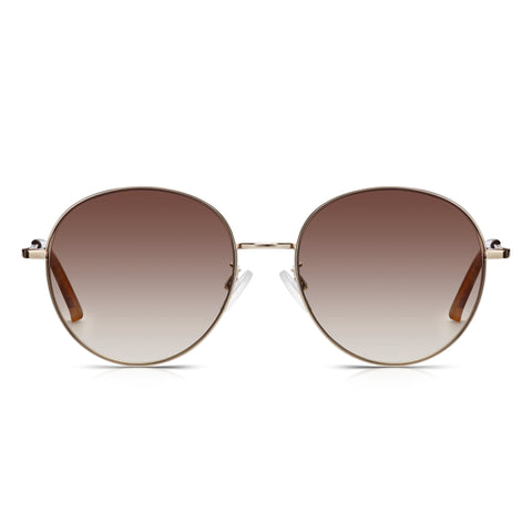 Sunglassjunkie Gold Oversized Round Sunglasses