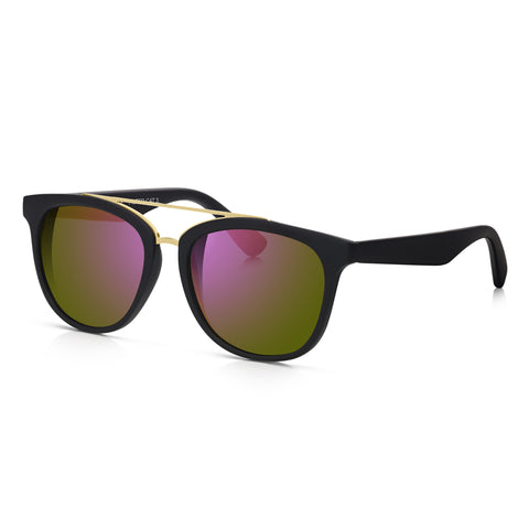 Sunglassjunkie Black Rubberised Brow Bar Wayfarer Sunglasses