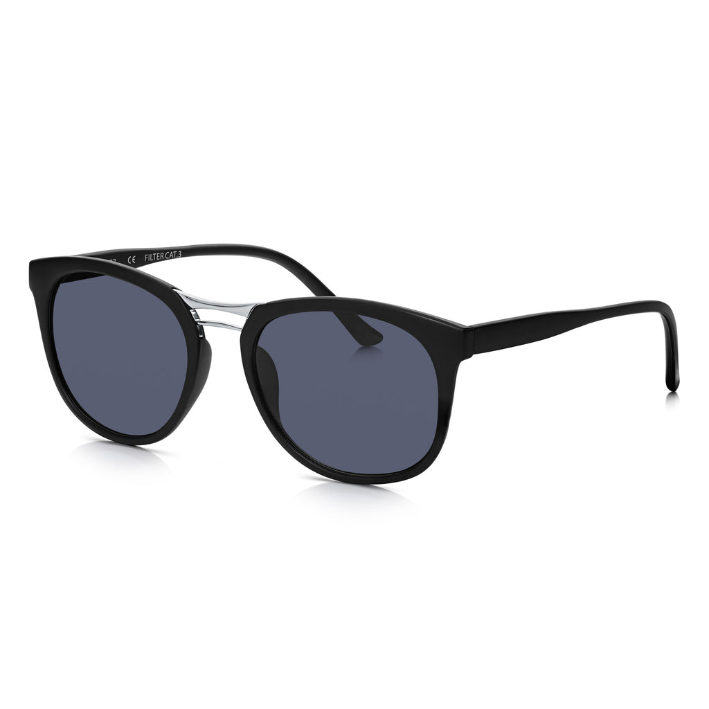 Sunglassjunkie Matt Black Metal Bridge Slim Wayfarer Sunglasses
