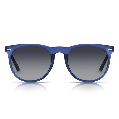 Sunglassjunkie Blue Crystal Preppy Round Sunglasses
