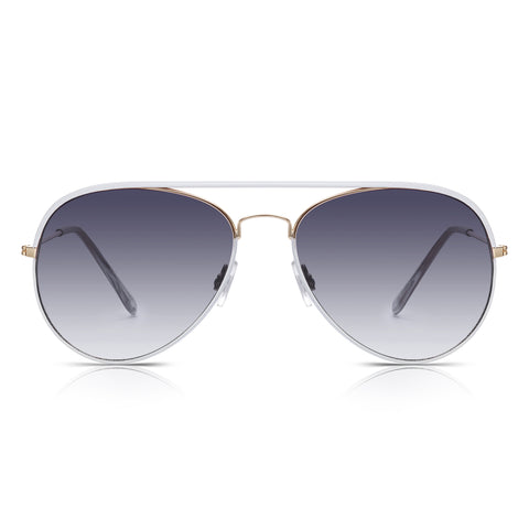 Sunglassjunkie White Enamel & Gold Aviator Sunglasses