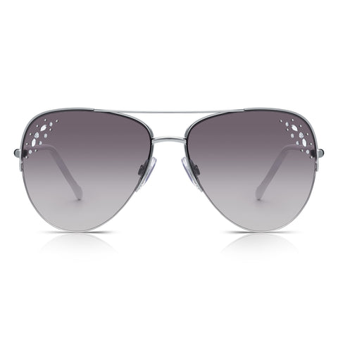 Sunglassjunkie Silver, White & Diamanté Semi-Rimless Aviator Sunglasses