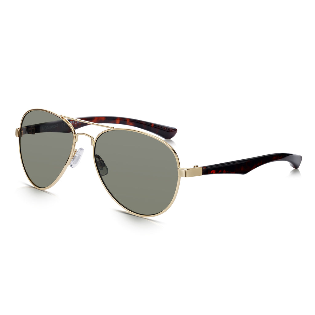 Sunglassjunkie Gold and Tortoiseshell Aviator Sunglasses