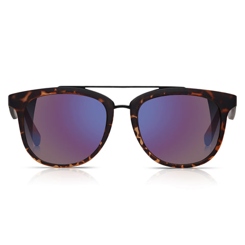 Sunglassjunkie Tortoiseshell Rubberised Brow Bar Wayfarer Sunglasses