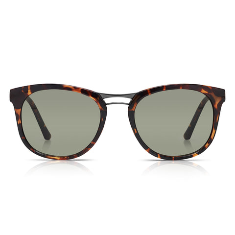 Sunglassjunkie Tortoiseshell Metal Bridge Slim Wayfarer Sunglasses