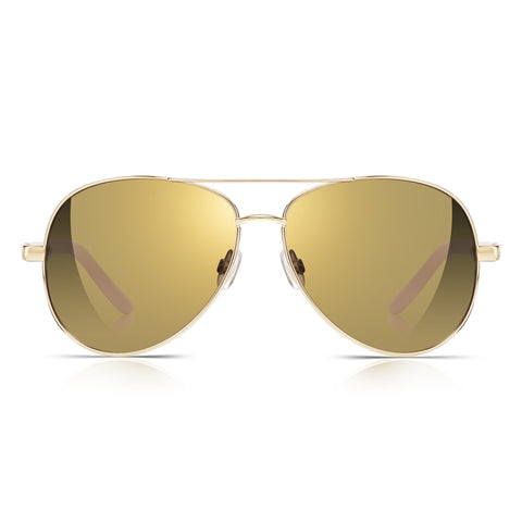 Sunglassjunkie Gold & Pink Oversized Aviator Sunglasses