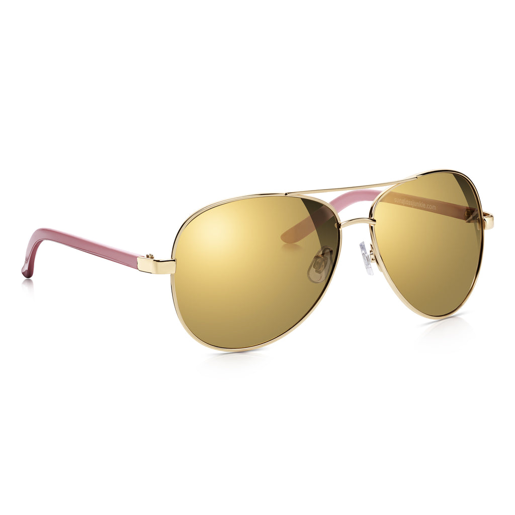 Gold & Pink Oversized Aviator Sunglasses SUNGLASSJUNKIE.COM