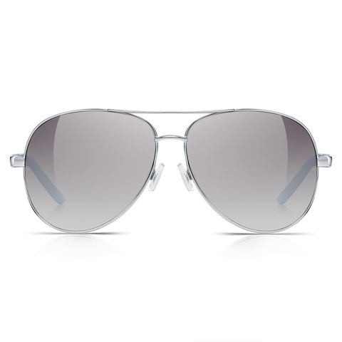 Sunglassjunkie Silver & Blue Oversized Aviator Sunglasses